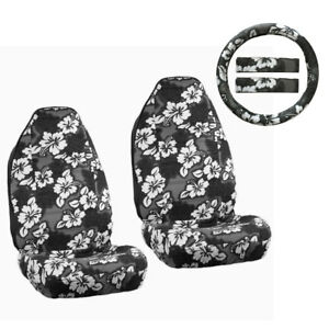 Hawaiian Car Seat Covers >> Details About New Black Hawaiian Hibiscus Floral Car Front Seat Covers Steering Wheel Cover