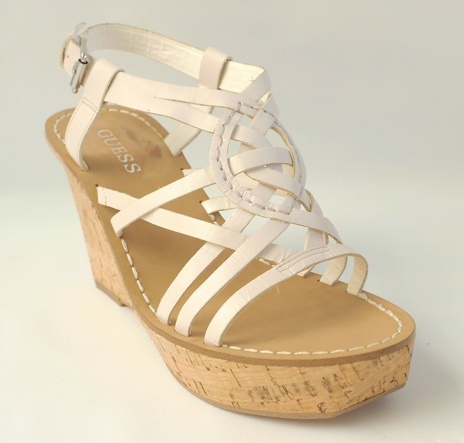 GUESS  99 Ivory Leather Wedge Sandals Platform YARKENA Women's shoes 10