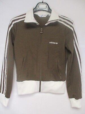 Veste ADIDAS sport rétro vintage tracktop jacket look marron F 38 D 36 | eBay
