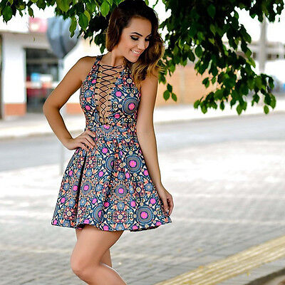 2015 Sexy Women Summer Mini Dress Casual Sleeveless Floral Evening Party Bandage