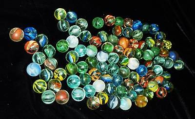 95 Old Marbles Lot #15 Mixed Machinemade Cat Eyes