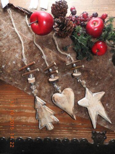 Stella IN LEGNO CUORE ALBERO PICCOLO Decorazione laccio Natale Advent türkranz Decorazione