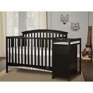 Details About 5 In 1 Side Convertible Crib Changer Nursery Furniture Baby Toddler Bed Black