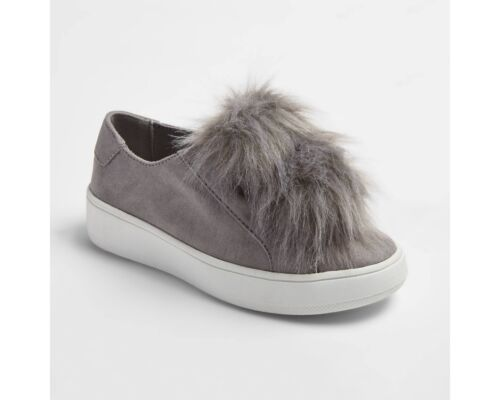 Stevies Girls/' #FLUFFFY Pompom Sneakers Grey Various Sizes NWT!