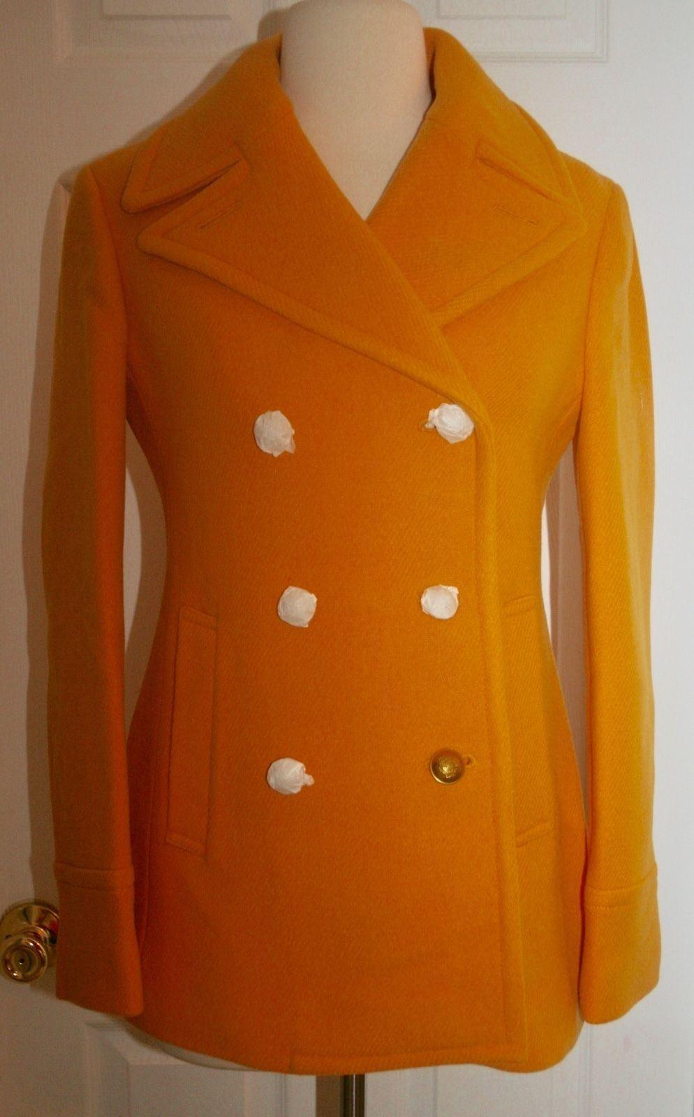J.CREW MAJESTY PEACOAT IN STADIUM CLOTH SIZE 2 MARIgold F4923