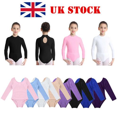 UK Girls Ballet Dance Long Sleeve Leotards Gymnastics Unitards Uniform Dancewear