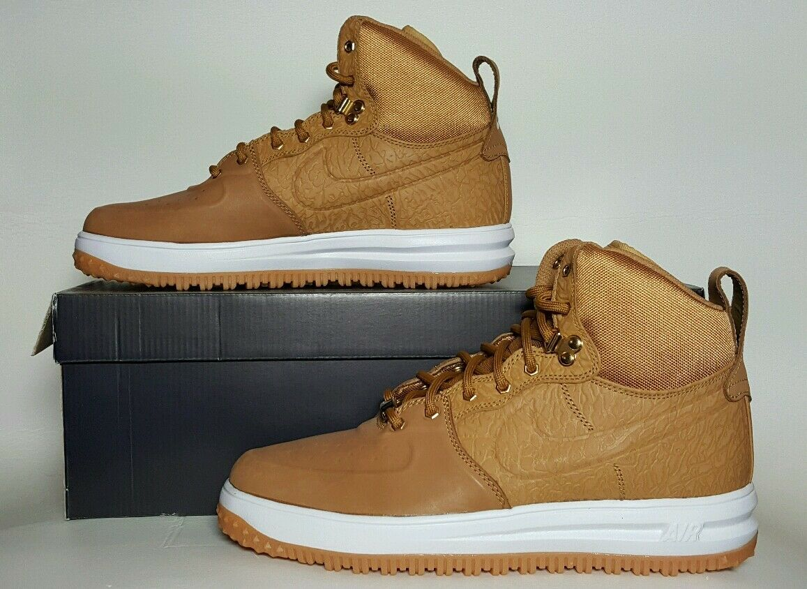 NIKE MEN'S LUNAR FORCE 1 SNEAKERBOOT NEW BOX MULTIPLE SIZE WHEAT gold 654481 700