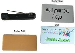 NAME BADGE 7x3.5cm WORK BADGES your name tag logo PIN BACK Personalised printed