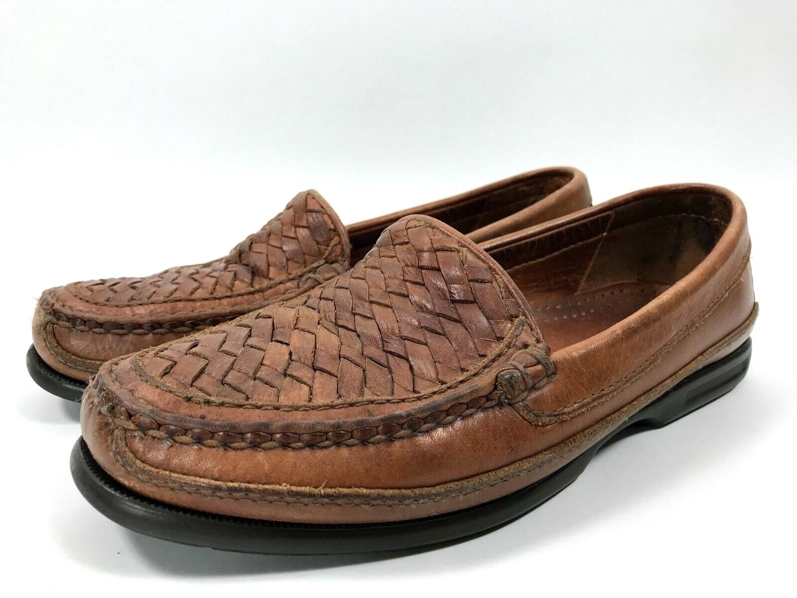 Johnston Murphy Passport Weave Woven Leather Loafers shoes Men Size 8 M 20-8319
