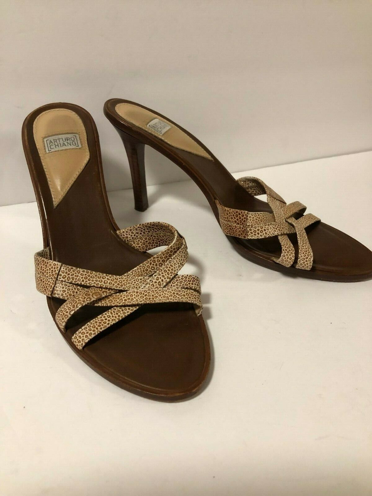 Arturo Chiang Sandals Mules Stacked Heels Leather Stiletto Beige Brown Size 8 M