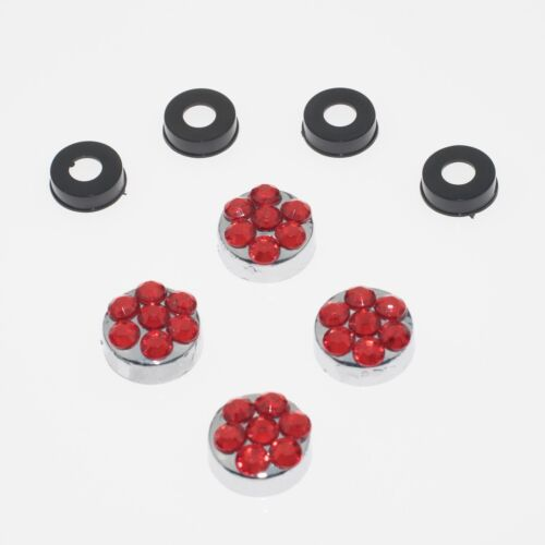 Red Crystal Rhinestone Screw Caps for Bling Sparkle License Plate Frame