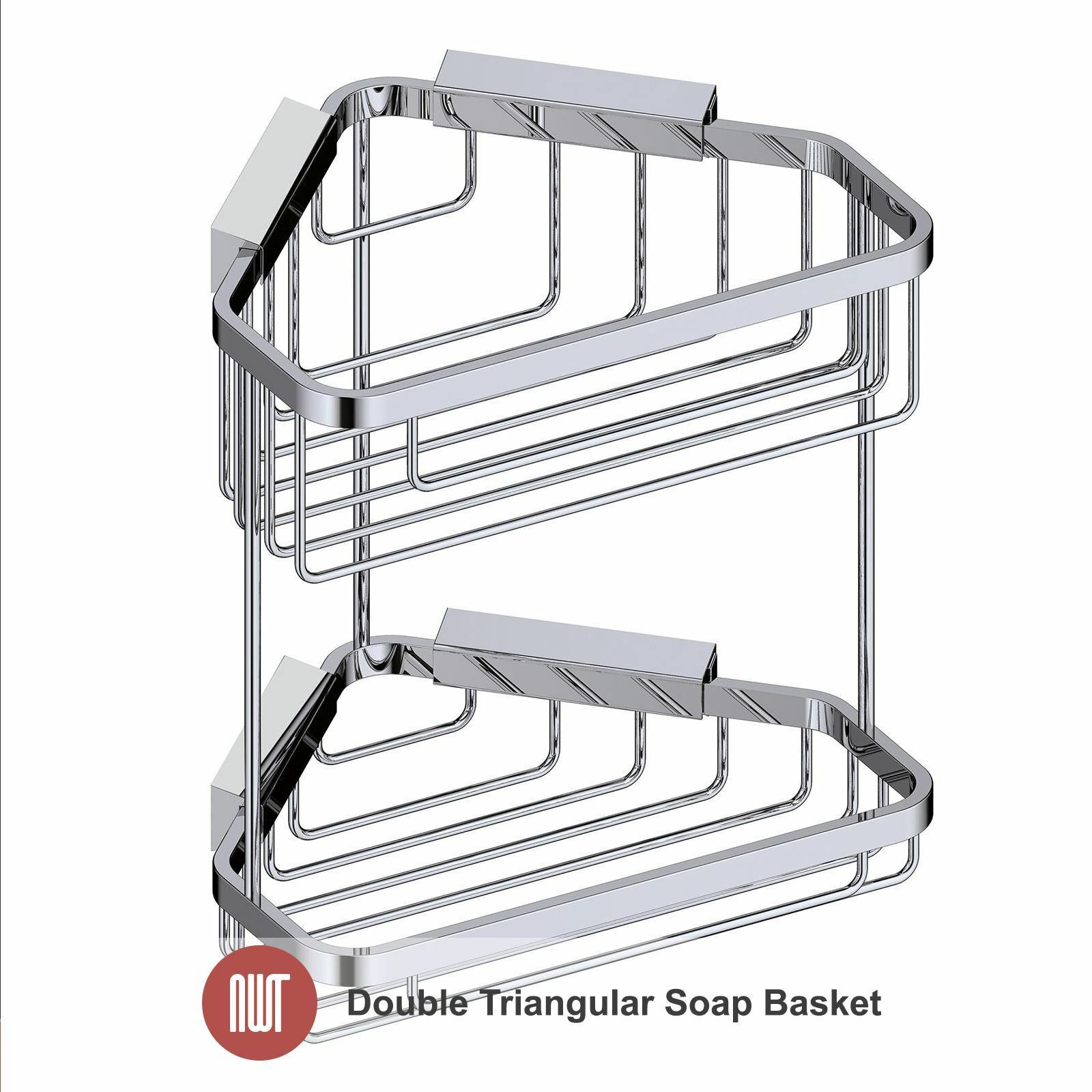 200mm(w) x 360mm(h) Quality Chrome Double Corner Bathroom Shower Basket Tidy