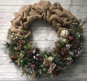 image is loading christmas door wreath decor handmade burlap wreath winter - Christmas Burlap Wreath