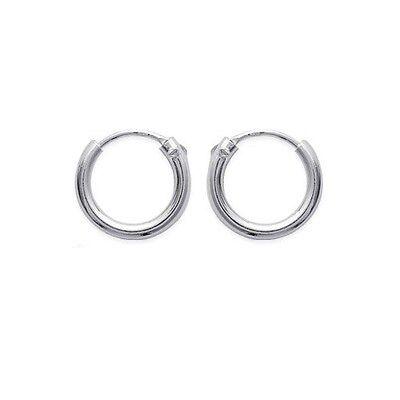 Ohrringe Creolen KLASSISCHE 12 mm Strang MITTEL 2mm Sterling Silber NEU
