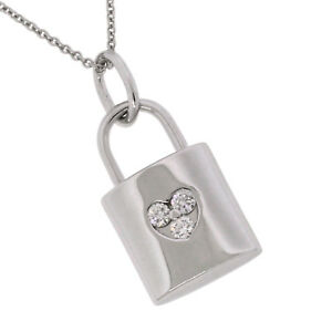 68ab3d580 Tiffany & Co. Jewelry 18K White Gold 3 Diamond Heart Lock Pendant ...