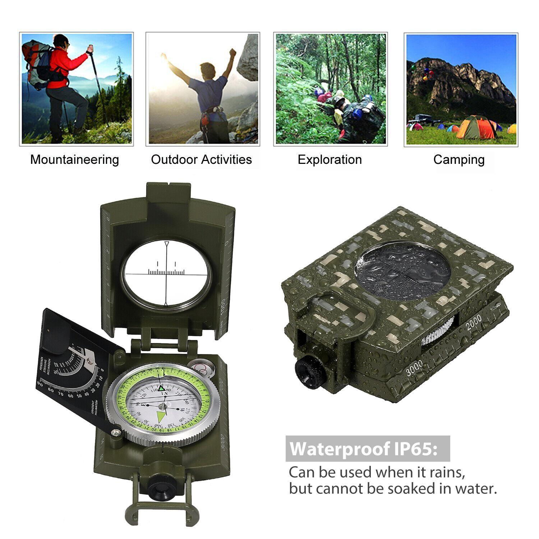 Brújula profesional de metal Portátil con bolsa para acampar geología precisión
