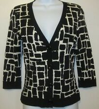 Ann Taylor Black &  Cream 3/4 Sleeve Sweater~Silk/Nylon~Sz XXS~GC