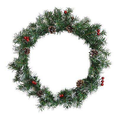 Green Christmas Door Wreath Decoration Xmas Snow Tipped Decor Real Pine Cones
