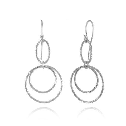 Lightweight Double Circle Dangle Drop Earrings in Sterling Silver