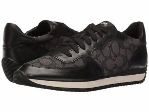 New-Coach-Farah-Signature-Outline-Fabric-Napa-Sneakers-Black-Smoke-Coal-Shoes