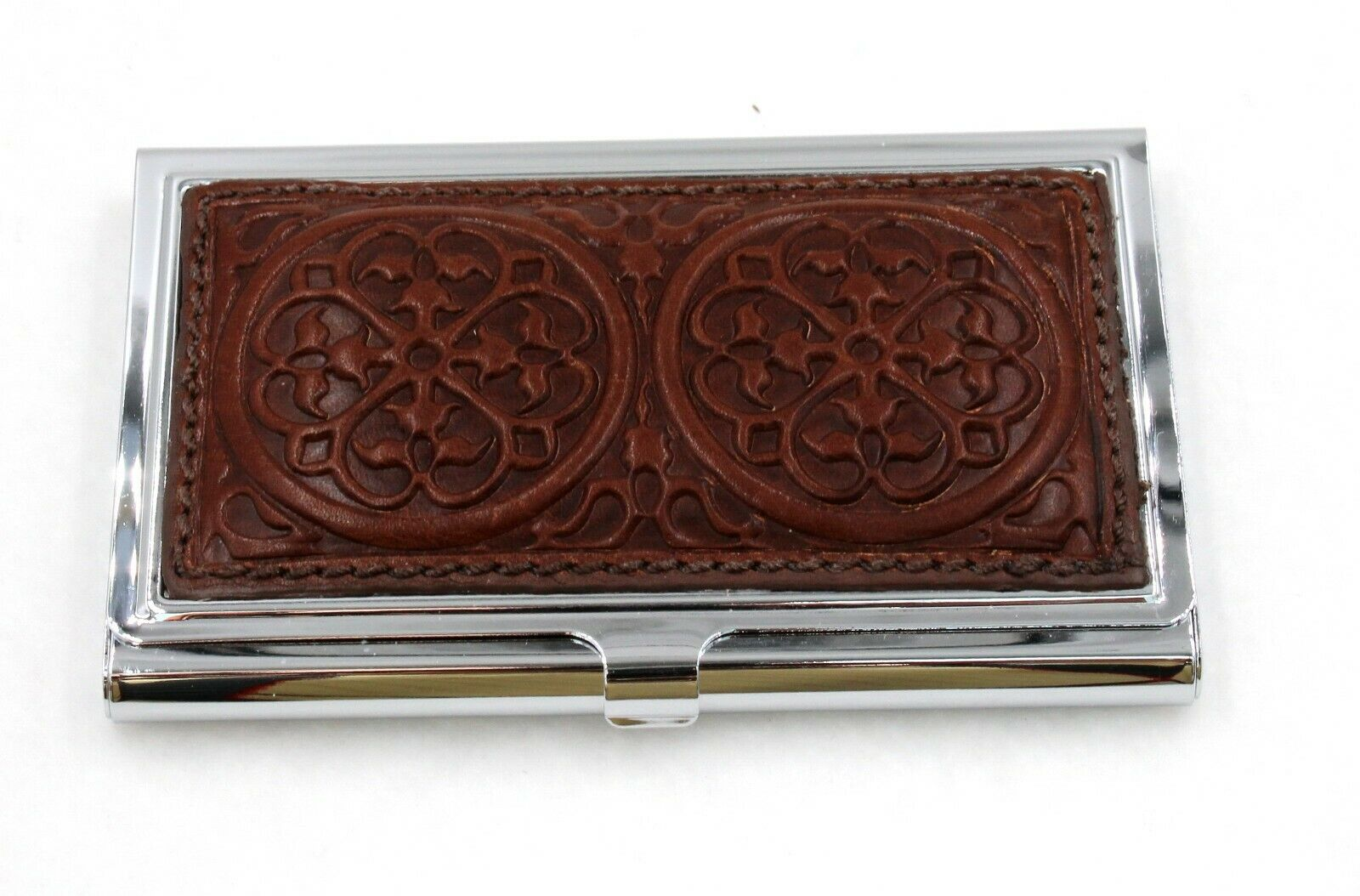 BRIGHTON Ferrara Motif Tan Hard Business Card Case Holder Compact E5356W NEW