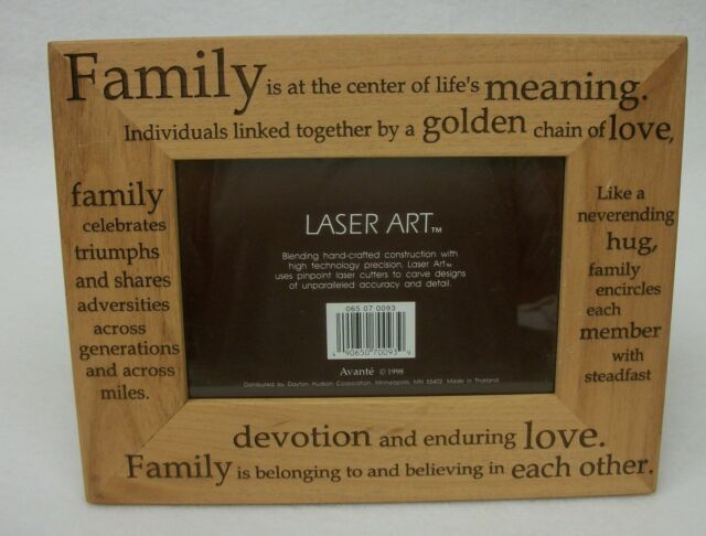 Avante Laser Art Family Engraved Wood Words Photo Frame 4x6 Picture