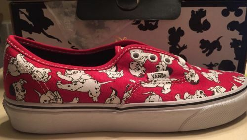 Vans X Disney 101 Dalmatians Dogs Puppy Story Red Authentic Lo Pro Mens 12 13