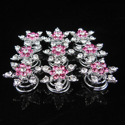 Women Bridal Party Prom Pink Snowflake Crystal Rhinestone Twists Spins Hair Pins