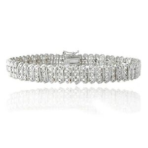 1-00ct-TDW-Natural-Diamond-S-Link-Tennis-Bracelet-in-Gold-or-Silver-Plated-Brass