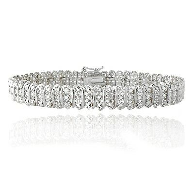 1.00ct TDW Natural Diamond S Link Tennis Bracelet in Gold or Silver Plated Brass
