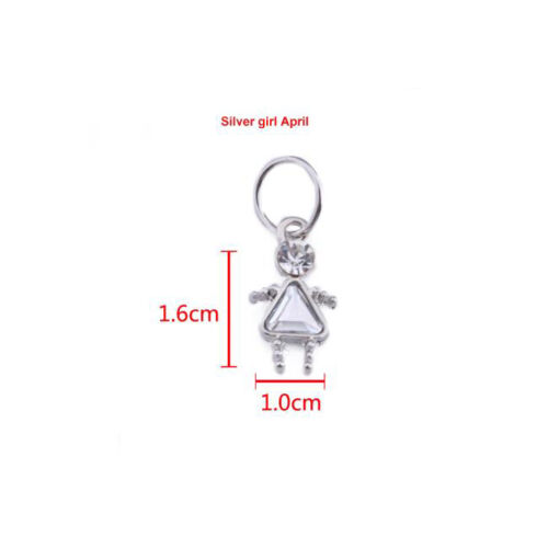 3.99 /& 4.99 TWO SIZES FINE Silver Plated Birthstone Boy // Girl Shaped Charm