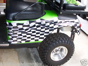 Large Checkered Flag Golf Cart Side Graphics Decal Decals EZGO Club on race car graphics, car and truck decals graphics, golf cart wraps and graphics,