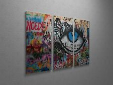 """Banksy Don't Let Us Dream Stretched Canvas Triptych Print 48""""x30"""""""