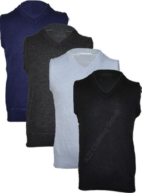 Mens Plain Sleeveless Jumper V Neck Sweater Casual Golf Tank Top Knitted