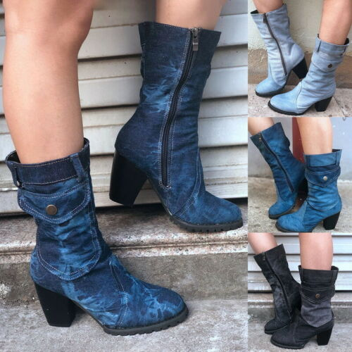US Women/'s Casual Trendy Round High Denim Style Cowboy Boots Toe BSN Shoes Heels
