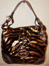 New Kathy Van Zeeland Patent Triple Compartment Hobo Bag Tiger