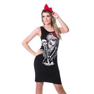 Punk Vixxsin Gothic Goth Girl Minikleid Crow Slasher Skelett Kleid Stretchkleid wrEWgHxrqF
