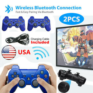 2Pcs Blue PS3 Controller Playstation 3 Wireless Bluetooth Video GamePad US SHIP