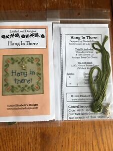 Hang In There Cross Stitch Little Leaf Elizabeth's Designs Cat Charm Floss OOP
