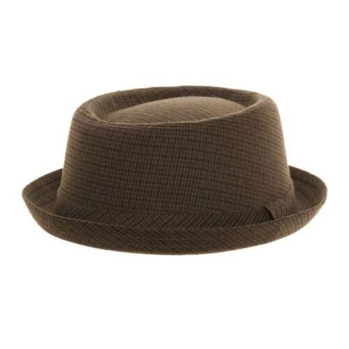 Unisex Tweed Design Grey Checked Pork Pie Trilby Hat