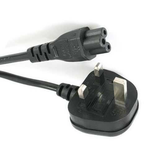 2m C5 CLOVERLEAF 3 PIN MAINS CABLE CLOVER LEAF POWER LEAD POWER CORD 2 METER UK