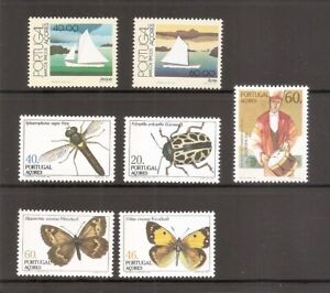 Portugal-Azores-SC-349-352-Insects-354-356-Boats-Europa-MNH