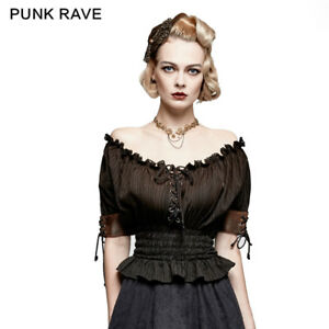 US-location-Rave-Rave-Summer-Top-Gothic-Steampunk-VTG-Boho-Victorian-T-shirt-Top