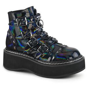 Demonia-EMILY-315-Women-039-s-Black-Hologram-Vegan-Leather-Platform-Laced-Ankle-Boot