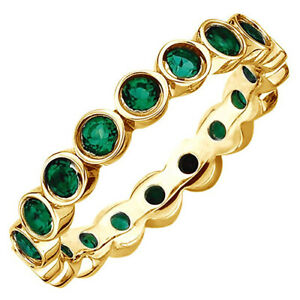 Sterling Silver Yellow Emerald /& Round Eternity Band