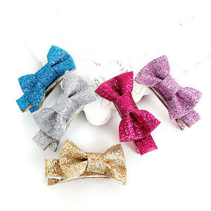 Glitter-Hair-Clips-Baby-Bow-Knot-Hairpins-Girl-Barrettes-Bow-Bobby-Pin-New