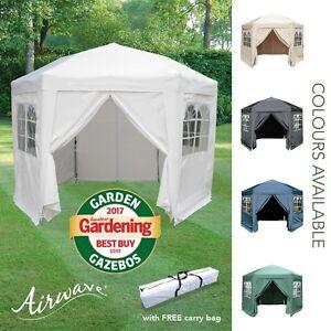 Detalles de Airwave 3.5m Hexagonal Jardin Tente Barnum avec Carry Sac -  Imperméable Marquis