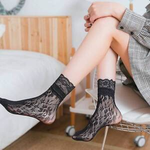 0e305714aa Details about 1Pair Women Girl Hollow Floral Lace Fish Net Mesh Ruffle  Frilly Ankle Socks Gift