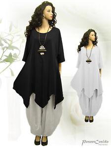 LAGENLOOK Tunika Long-Shirt schwarz floral 44 46 48 50 52 54 56 58 L XL XXL XXXL
