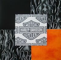 32 6 Harley Davidson Logo Shield Black Flames Orange Blend Quilt Fabric Squares